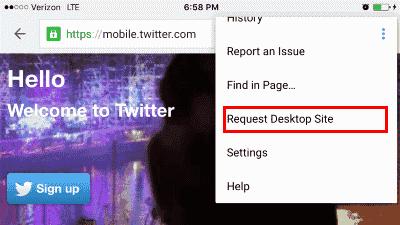Twitter desktop view