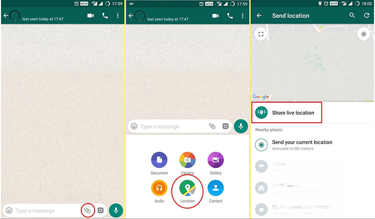 how to use whatsapp live location sharing