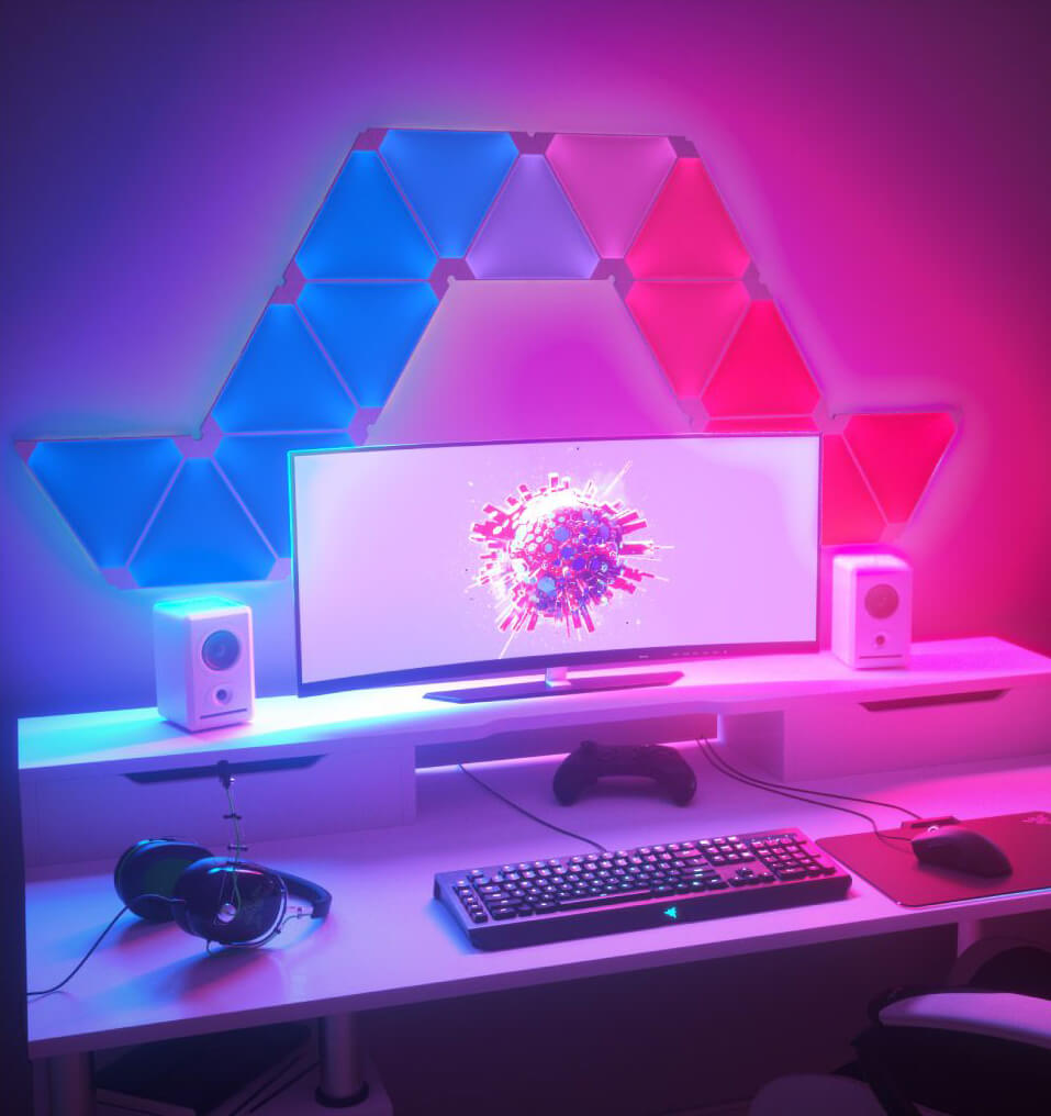 Best Nanoleaf gaming room design ideas inspiration 8